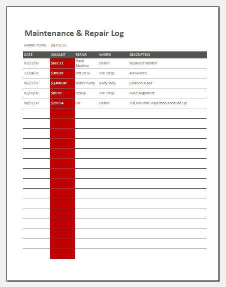 Maintenance and repair log template