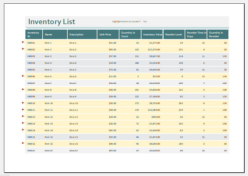 Business stock inventory template