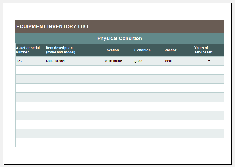 Equipment inventory and depreciation template