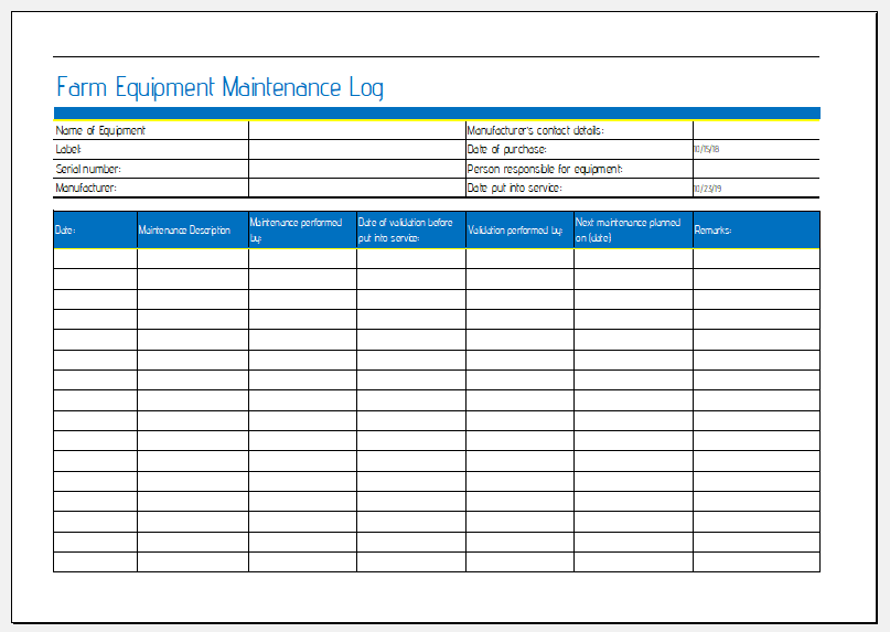 farm equipment maintenance sheet for ms excel