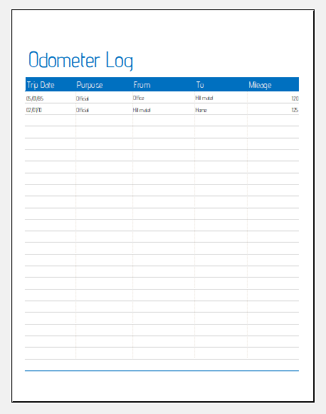 Odometer log template