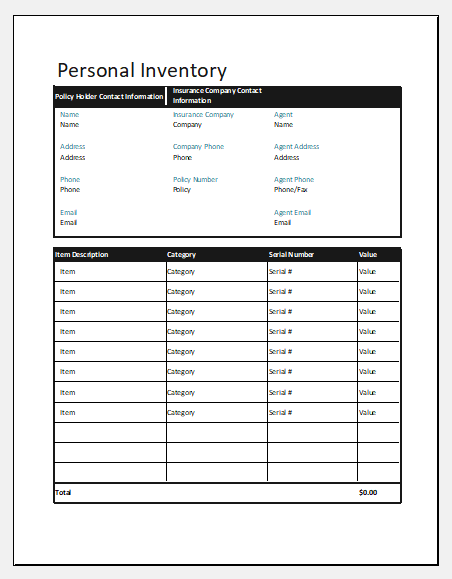 Personal inventory template