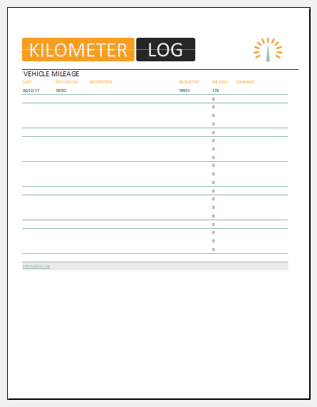 vehicle kilometer log template for ms excel