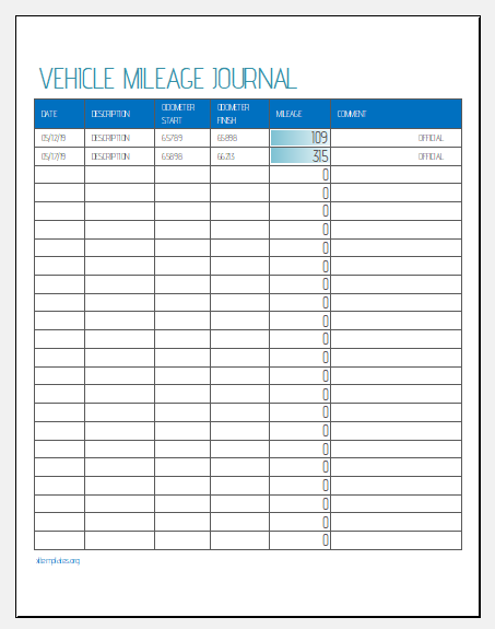 Vehicle mileage journal template