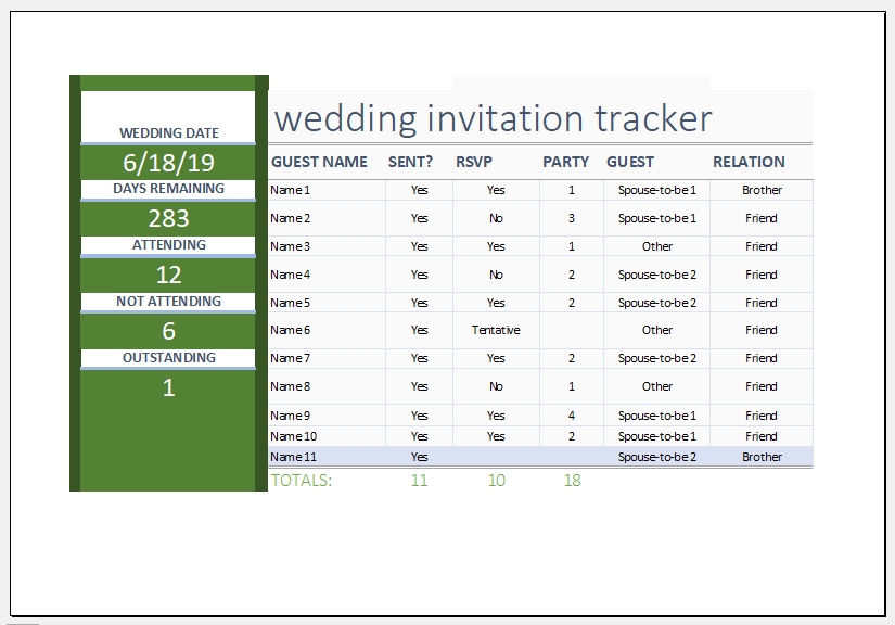 Wedding invitation tracker template