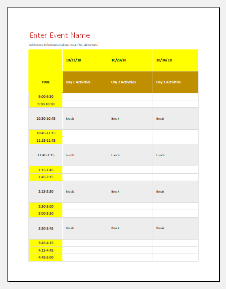 Family event schedule template