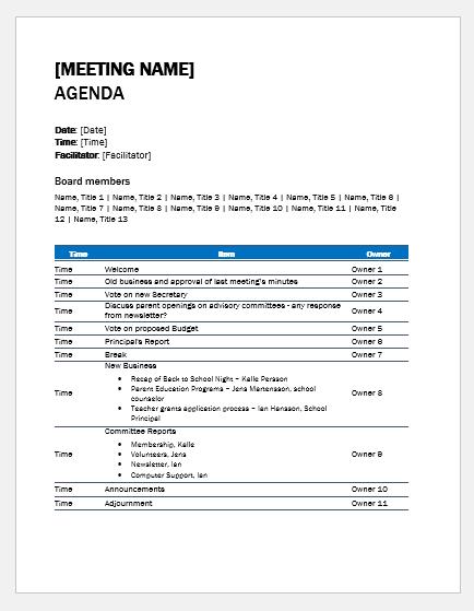 School meeting agenda template