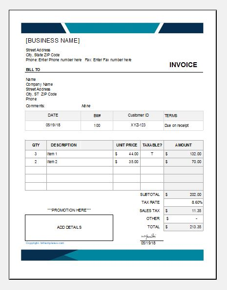 Cleaning service bill template