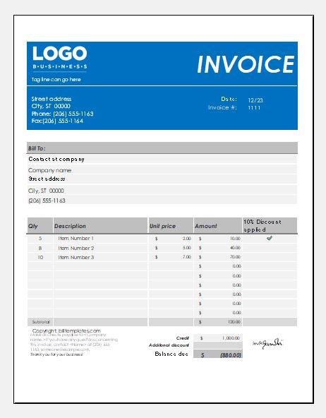 Itemized sales bill template