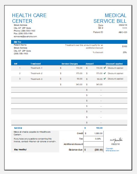 Medical service bill template