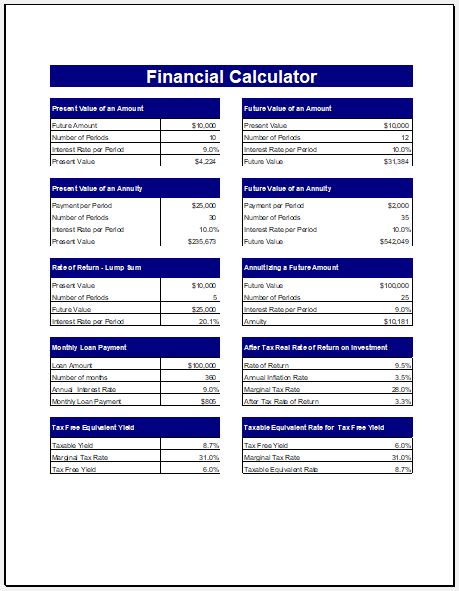 Financial calculator template