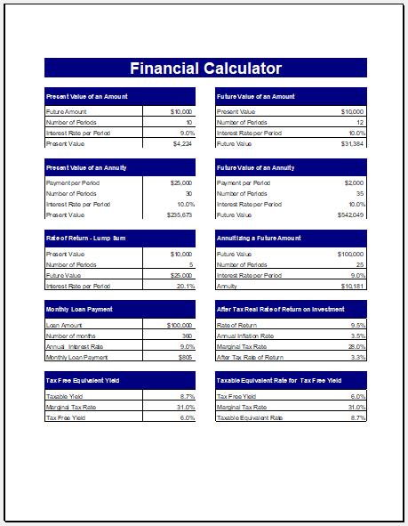 Financial calculator template