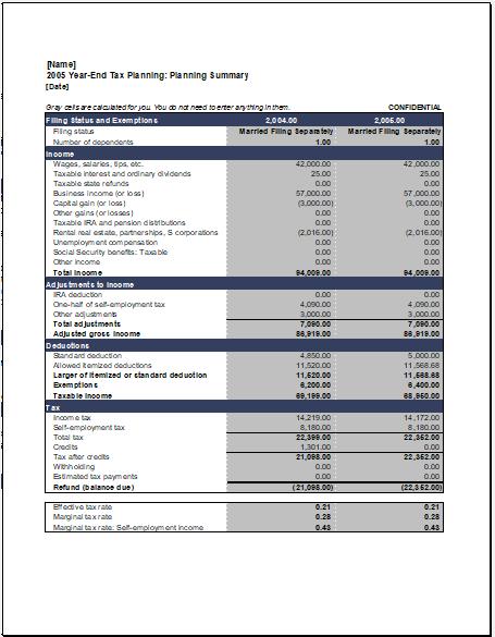 Year end tax planning calculator