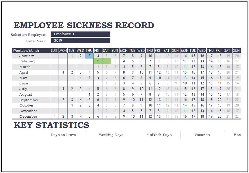 Employee illness tracker template