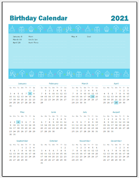 printable birthday calendar template for excel