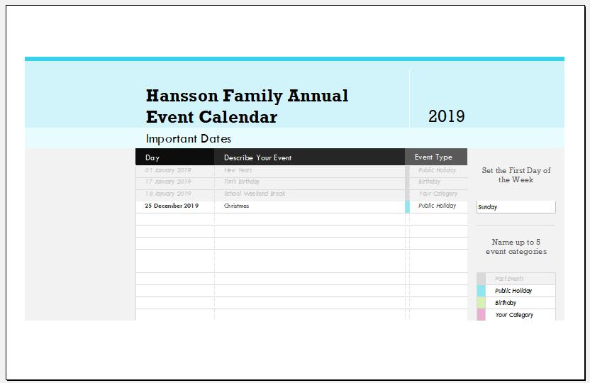 Family annual event calendar template