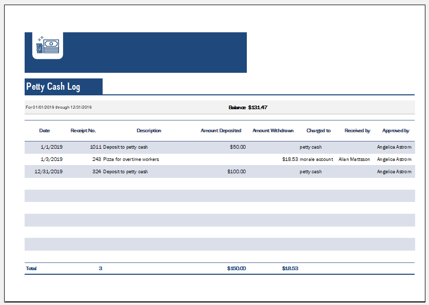 Petty cash log template for small business