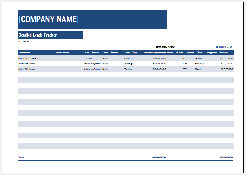 Small business sales lead tracker template