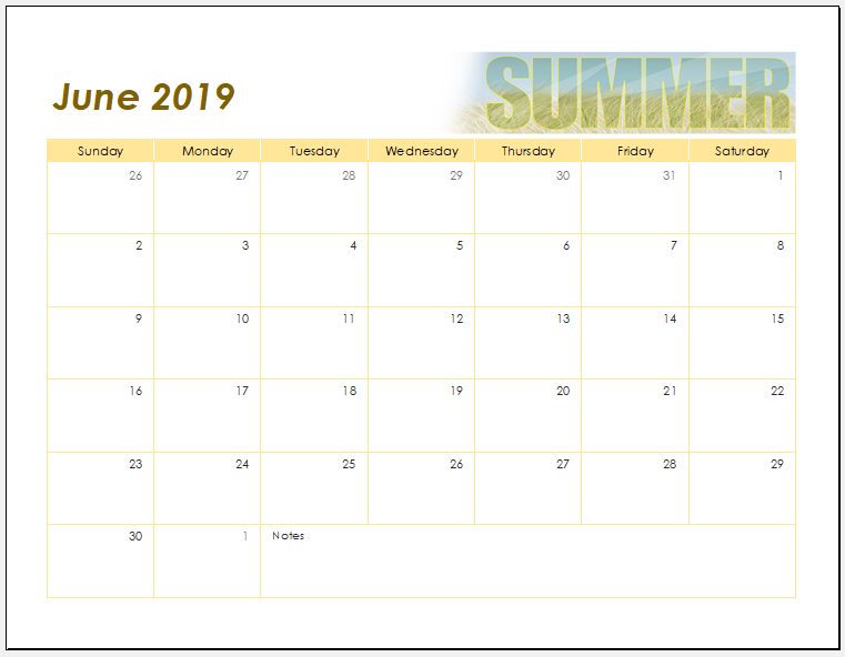 Summer activity calendar template
