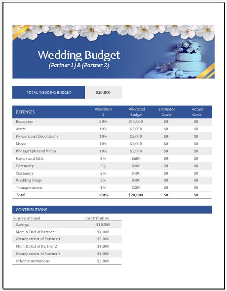 Wedding budget tracker template