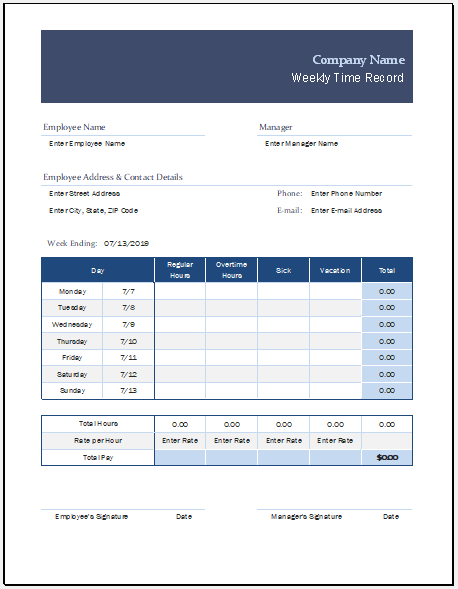Weekly time record sheet template