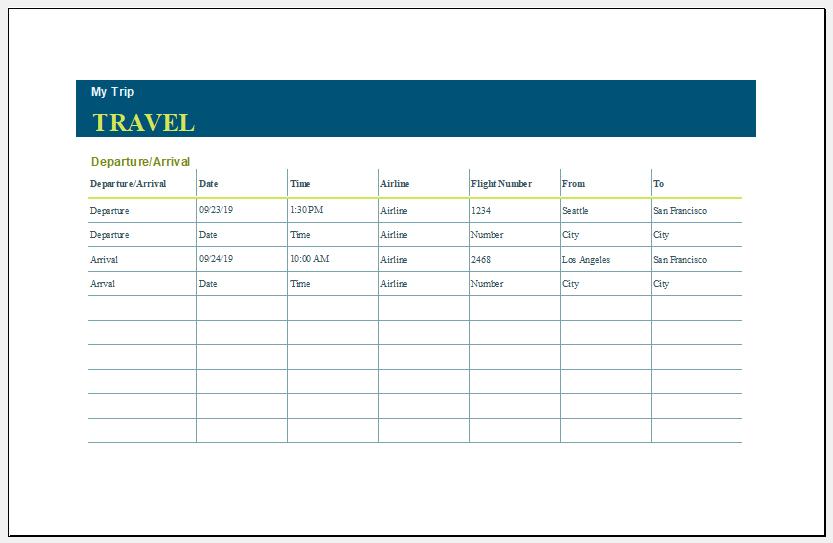 Travel Estimate Template