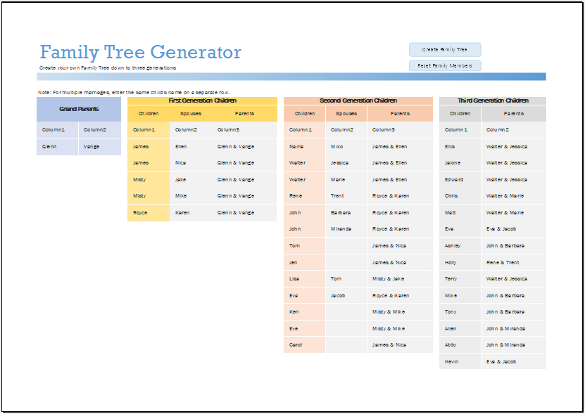 Family Tree Generator Template for Excel