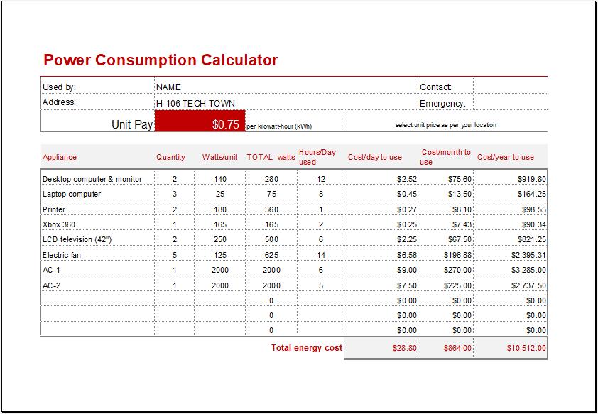 Power Consumption Calculator Template