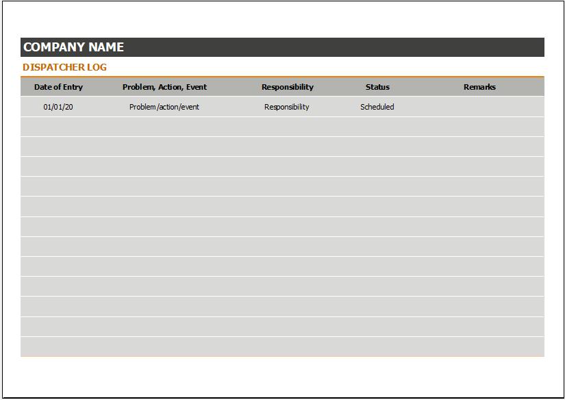 Dispatcher logbook template