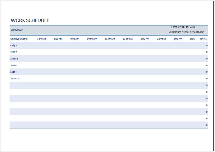 Employee work schedule template for Excel