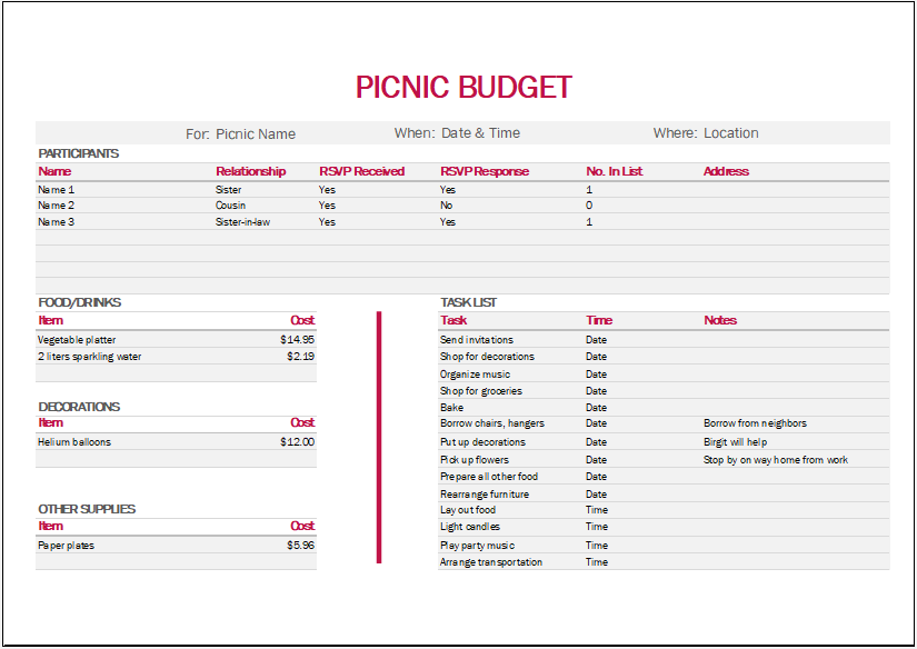 Picnic Budget Template for Excel