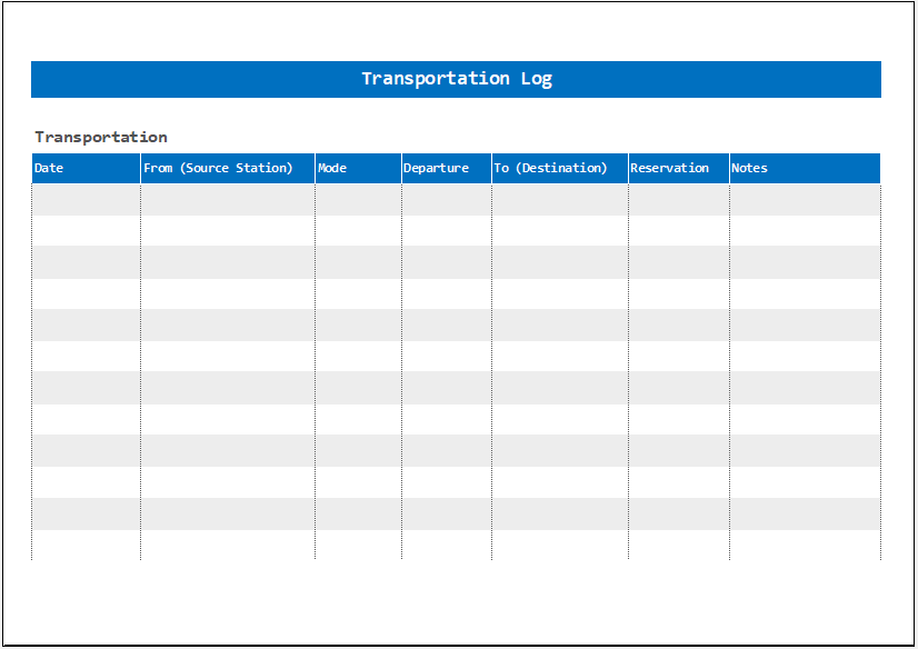 Transportation Log Template for Excel