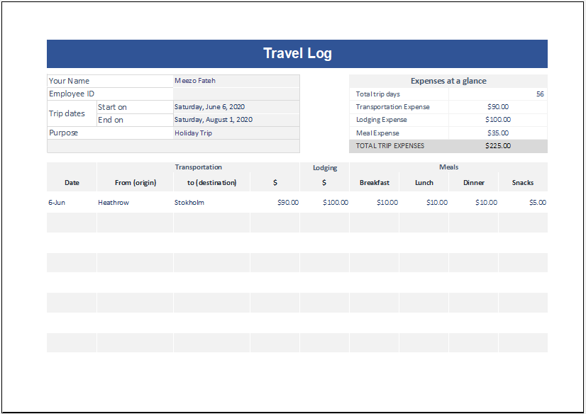 Travel Log Template for Excel
