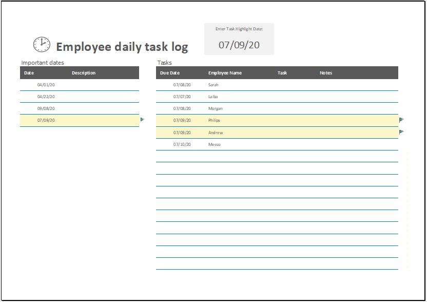 Employee Daily Task Log Template