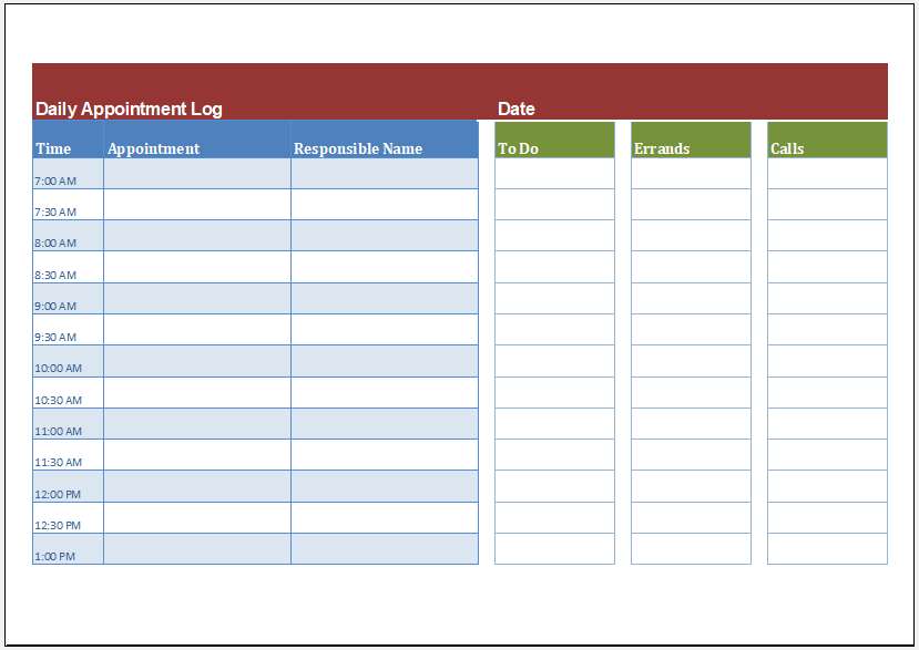 Daily Assignment Log Template for Excel