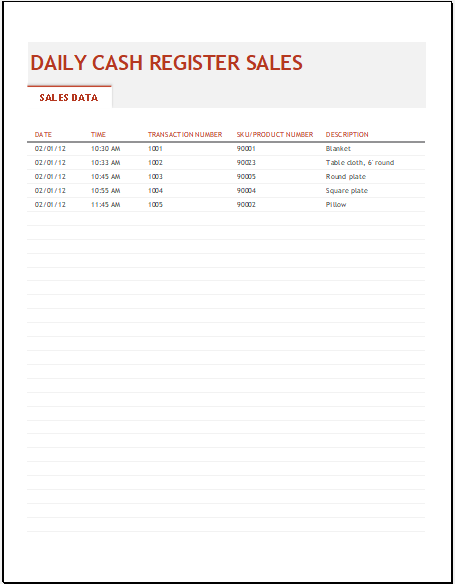 Daily sales register template