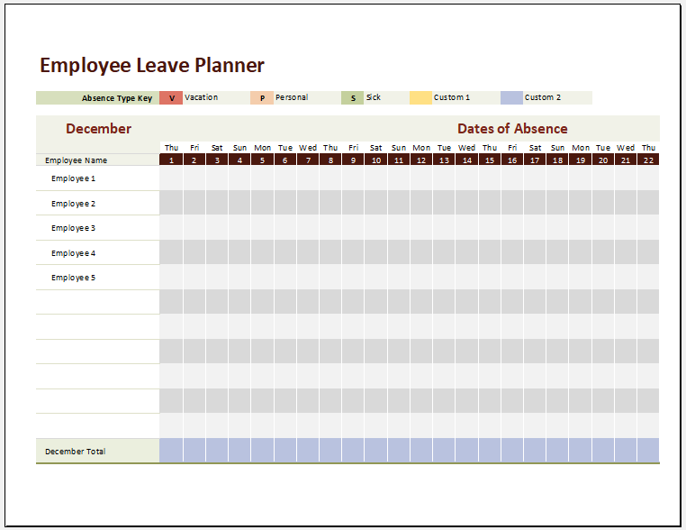 Employee Leave Roster Template for Excel