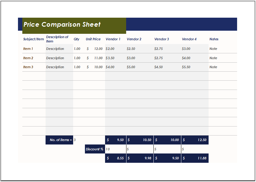 Price Comparison Sheet Template for Excel