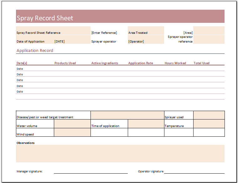 Spray Record Sheet Template