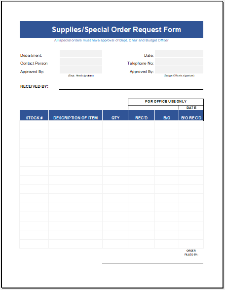 Supply Order Sheet Template for Excel