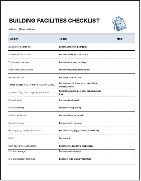 Building Facilities Checklist Template