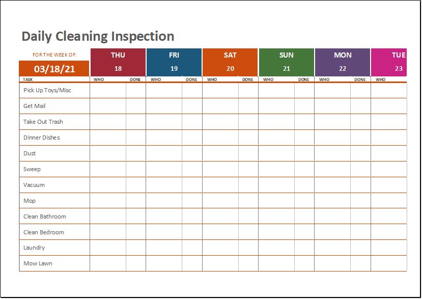 Daily cleaning inspection sheet