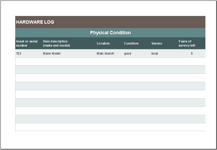 Hardware log sheet