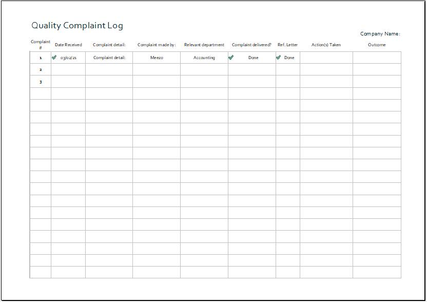 Quality complaint log template