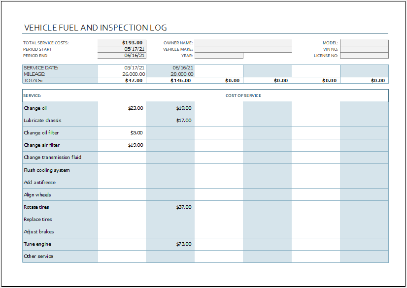 Company vehicle fuel and inspection log