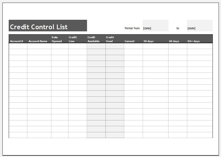 Credit control list template