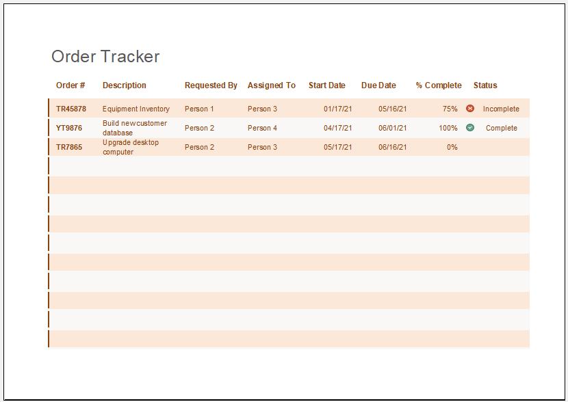 Order tracker template