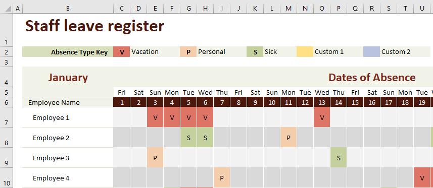 Staff leave register template