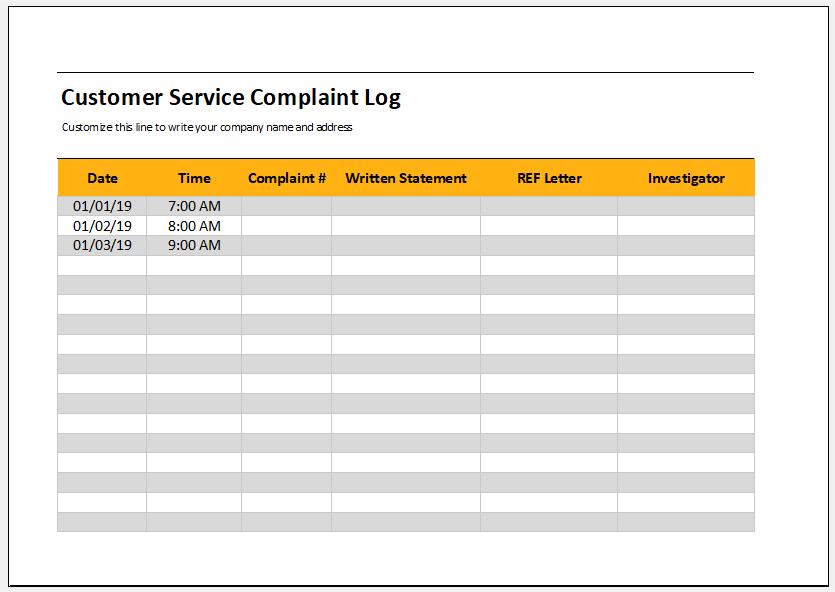 Customer service complaint log template