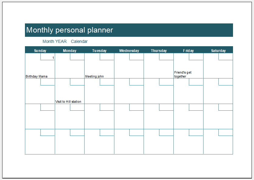 Monthly personal planner template